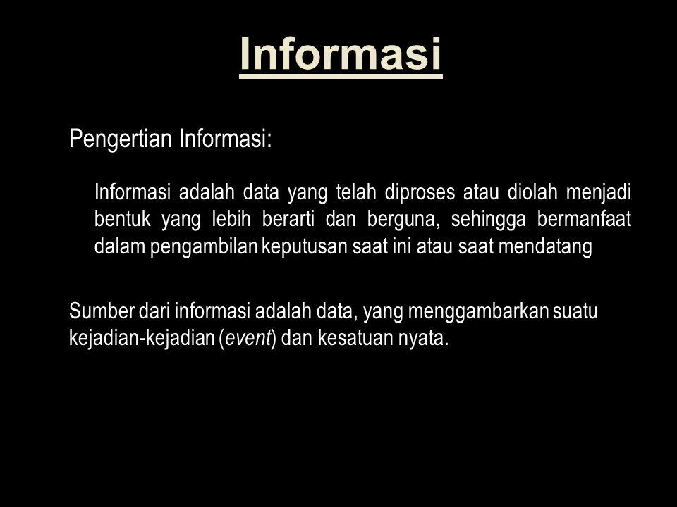 Informasi Pengertian Informasi: Informasi adalah data yang telah diproses atau diolah menjadi bentuk yang lebih berarti dan berguna, sehingga bermanfaat dalam pengambilan keputusan saat ini atau saat mendatang Sumber dari informasi adalah data, yang menggambarkan suatu kejadian-kejadian ( event ) dan kesatuan nyata.
