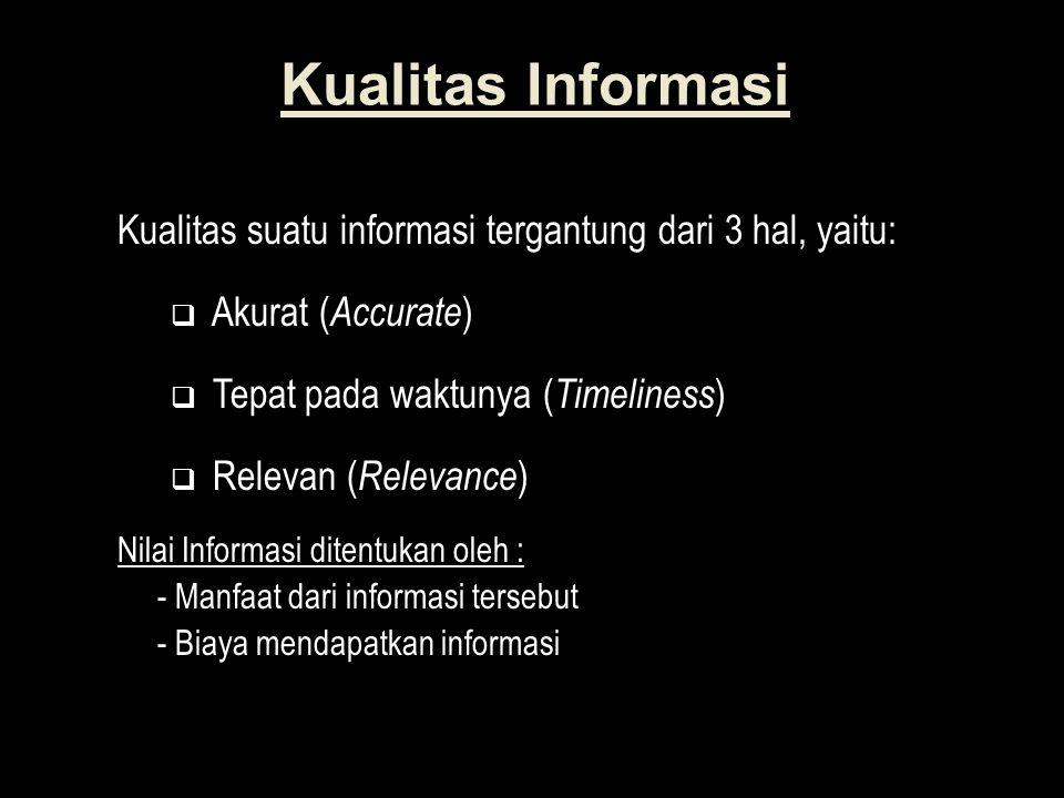 Kualitas Informasi Kualitas suatu informasi tergantung dari 3 hal, yaitu:  Akurat ( Accurate )  Tepat pada waktunya ( Timeliness )  Relevan ( Relevance ) Nilai Informasi ditentukan oleh : - Manfaat dari informasi tersebut - Biaya mendapatkan informasi