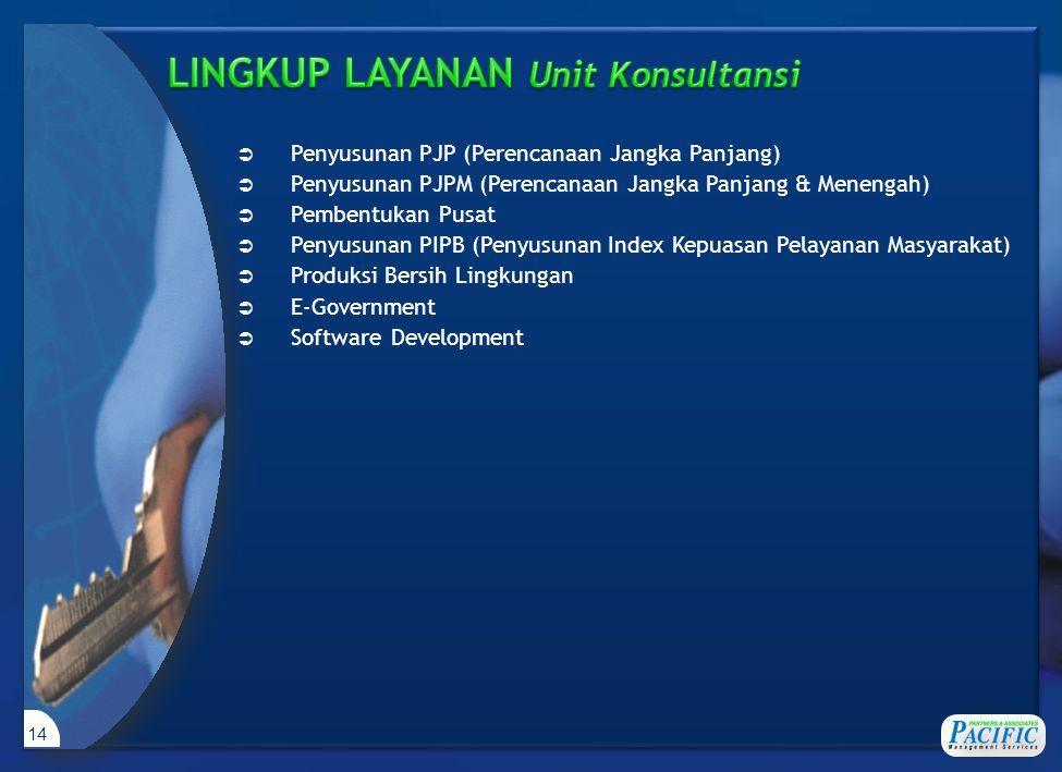 14  Penyusunan PJP (Perencanaan Jangka Panjang)  Penyusunan PJPM (Perencanaan Jangka Panjang & Menengah)  Pembentukan Pusat  Penyusunan PIPB (Penyusunan Index Kepuasan Pelayanan Masyarakat)  Produksi Bersih Lingkungan  E-Government  Software Development