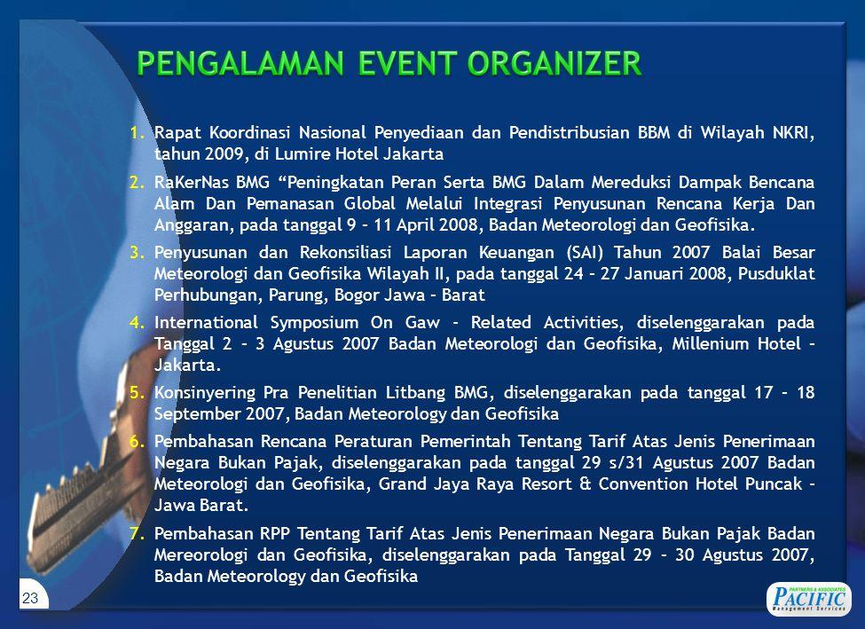 """23 1.Rapat Koordinasi Nasional Penyediaan dan Pendistribusian BBM di Wilayah NKRI, tahun 2009, di Lumire Hotel Jakarta 2.RaKerNas BMG """"Peningkatan Per"""