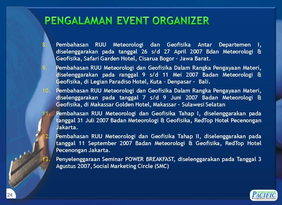 24 8.Pembahasan RUU Meteorologi dan Geofisika Antar Departemen I, diselenggarakan pada tanggal 26 s/d 27 April 2007 Bdan Meteorologi & Geofisika, Safari Garden Hotel, Cisarua Bogor - Jawa Barat.