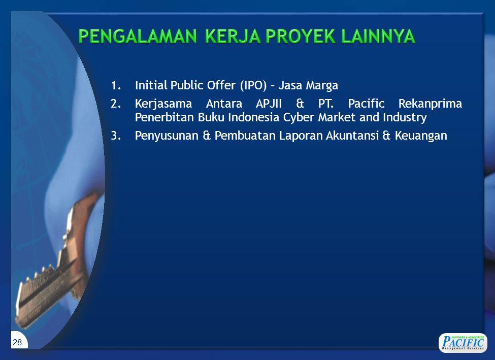 28 1.Initial Public Offer (IPO) – Jasa Marga 2.Kerjasama Antara APJII & PT. Pacific Rekanprima Penerbitan Buku Indonesia Cyber Market and Industry 3.P
