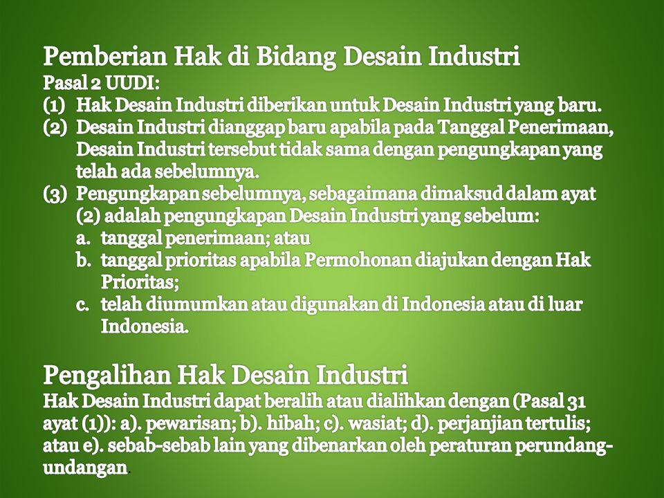 Hak Desain Industri tidak dapat diberikan apabila Desain Industri tersebut bertentangan dengan peraturan perundang-undangan yang berlaku, ketertiban umum, agama, atau kesusilaan.