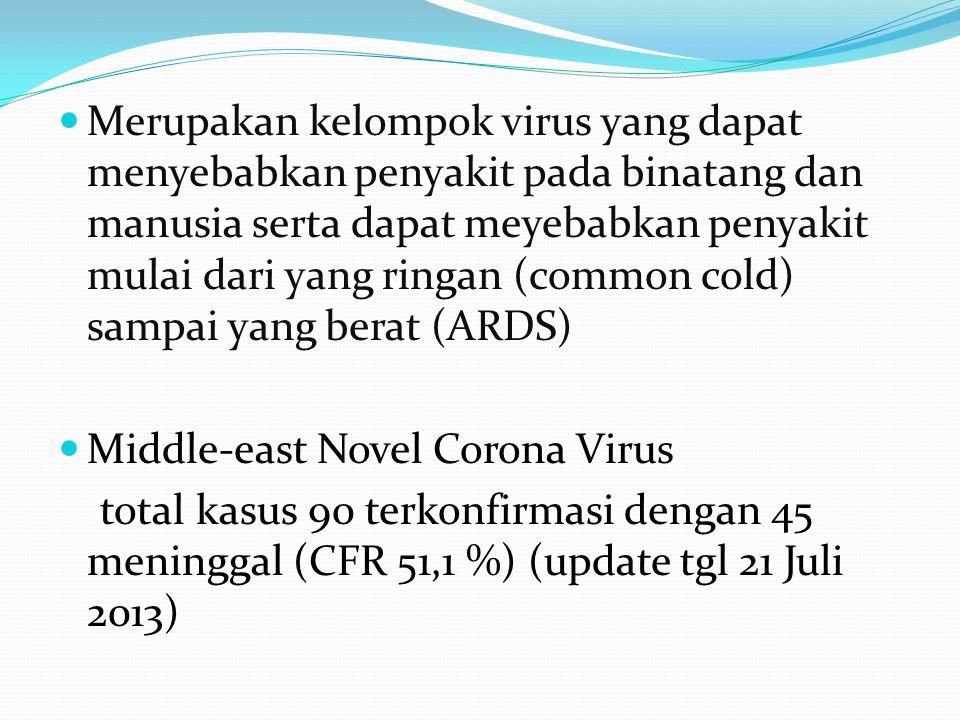  Merupakan kelompok virus yang dapat menyebabkan penyakit pada binatang dan manusia serta dapat meyebabkan penyakit mulai dari yang ringan (common co