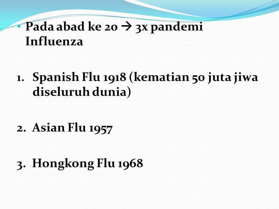 • Pada abad ke 20  3x pandemi Influenza 1. Spanish Flu 1918 (kematian 50 juta jiwa diseluruh dunia) 2. Asian Flu 1957 3. Hongkong Flu 1968