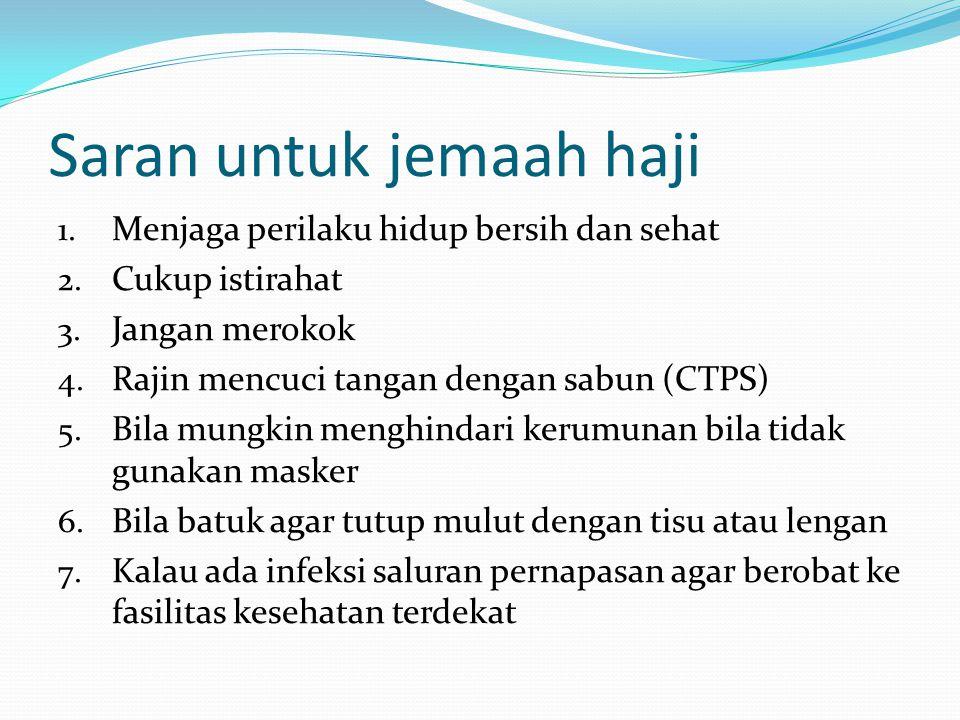 Saran untuk jemaah haji 1. Menjaga perilaku hidup bersih dan sehat 2. Cukup istirahat 3. Jangan merokok 4. Rajin mencuci tangan dengan sabun (CTPS) 5.