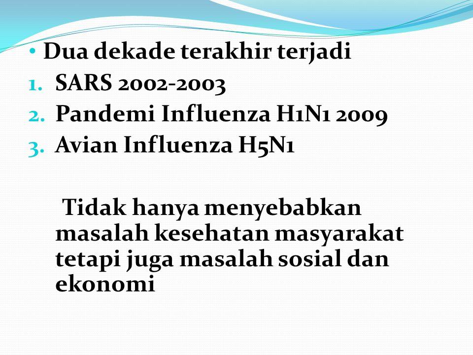 • Dua dekade terakhir terjadi 1. SARS 2002-2003 2. Pandemi Influenza H1N1 2009 3. Avian Influenza H5N1 Tidak hanya menyebabkan masalah kesehatan masya