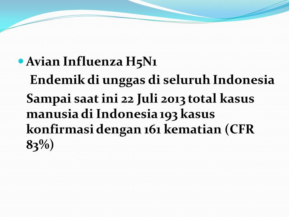  Avian Influenza H5N1 Endemik di unggas di seluruh Indonesia Sampai saat ini 22 Juli 2013 total kasus manusia di Indonesia 193 kasus konfirmasi denga