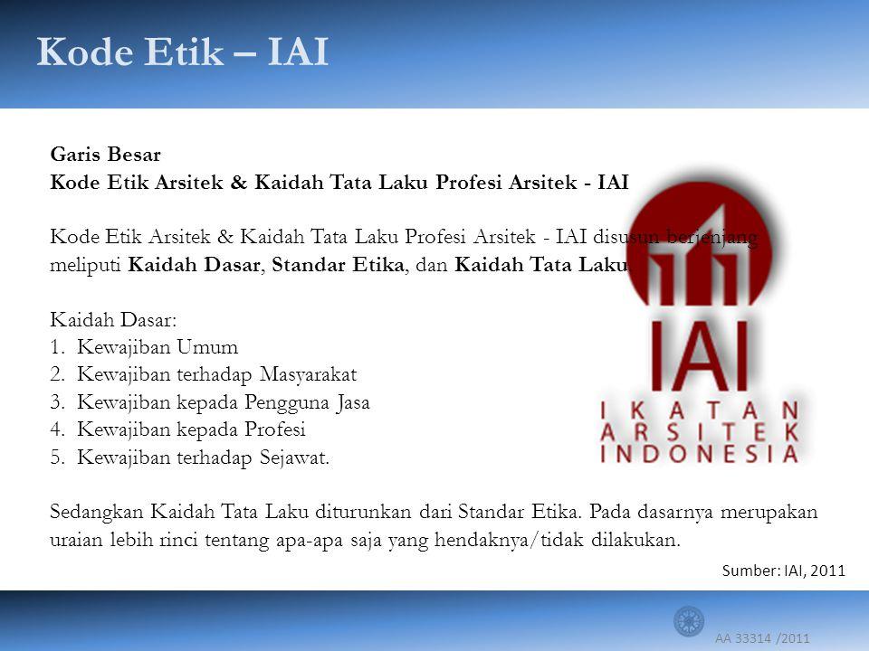 AA 33314 /2011 Garis Besar Kode Etik Arsitek & Kaidah Tata Laku Profesi Arsitek - IAI Kode Etik Arsitek & Kaidah Tata Laku Profesi Arsitek - IAI disus