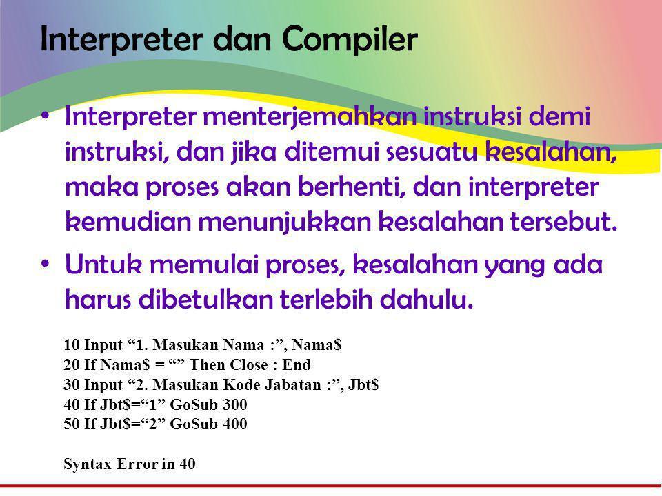 Interpreter dan Compiler • Interpreter menterjemahkan instruksi demi instruksi, dan jika ditemui sesuatu kesalahan, maka proses akan berhenti, dan interpreter kemudian menunjukkan kesalahan tersebut.
