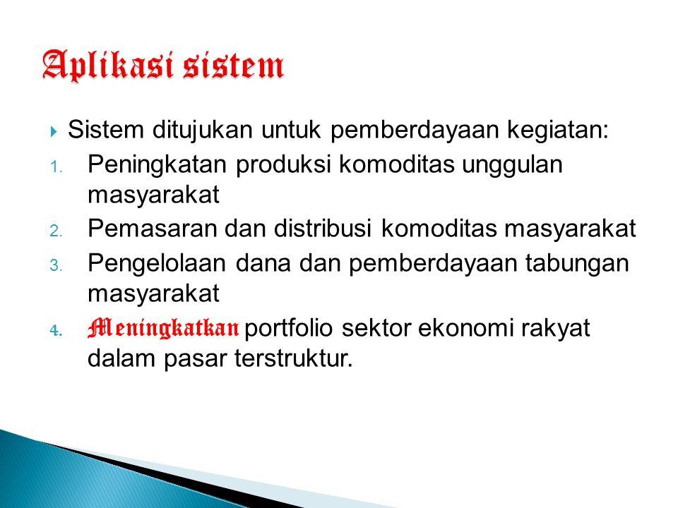 Sistem ditujukan untuk pemberdayaan kegiatan: 1. Peningkatan produksi komoditas unggulan masyarakat 2. Pemasaran dan distribusi komoditas masyarakat
