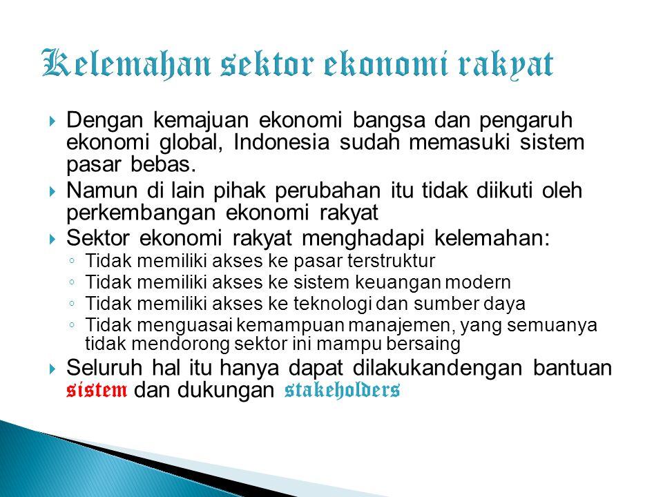  Dengan kemajuan ekonomi bangsa dan pengaruh ekonomi global, Indonesia sudah memasuki sistem pasar bebas.  Namun di lain pihak perubahan itu tidak d
