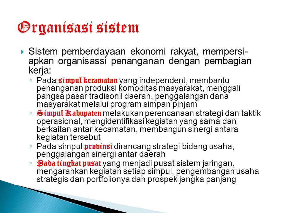  Sistem pemberdayaan ekonomi rakyat, mempersi- apkan organisassi penanganan dengan pembagian kerja: ◦ Pada simpul kecamatan yang independent, membant