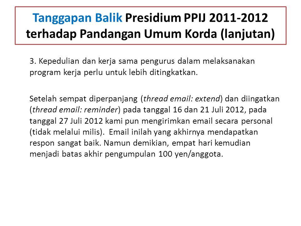 Tanggapan Balik Presidium PPIJ 2011-2012 terhadap Pandangan Umum Korda (lanjutan) 3. Kepedulian dan kerja sama pengurus dalam melaksanakan program ker