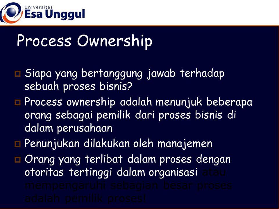  Siapa yang bertanggung jawab terhadap sebuah proses bisnis.