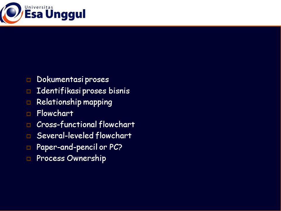  Dokumentasi proses  Identifikasi proses bisnis  Relationship mapping  Flowchart  Cross-functional flowchart  Several-leveled flowchart  Paper-and-pencil or PC.