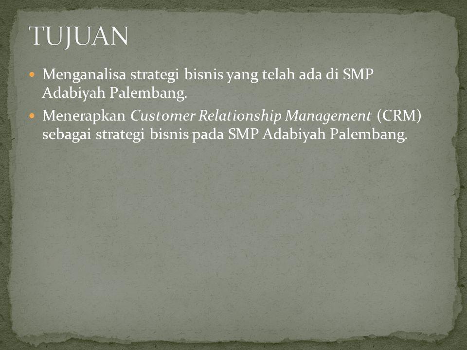  Menganalisa strategi bisnis yang telah ada di SMP Adabiyah Palembang.  Menerapkan Customer Relationship Management (CRM) sebagai strategi bisnis pa