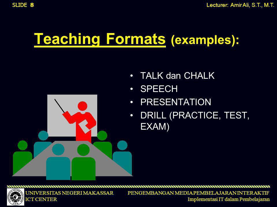 PENGEMBANGAN MEDIA PEMBELAJARAN INTERAKTIF Implementasi IT dalam Pembelajaran UNIVERSITAS NEGERI MAKASSAR ICT CENTER Teaching Formats (examples): •TAL