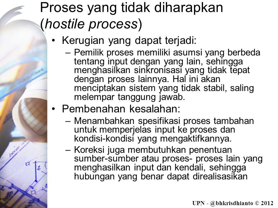 UPN - @bhkrisdhianto © 2012 Proses yang tidak diharapkan (hostile process) •Kerugian yang dapat terjadi: –Pemilik proses memiliki asumsi yang berbeda tentang input dengan yang lain, sehingga menghasilkan sinkronisasi yang tidak tepat dengan proses lainnya.