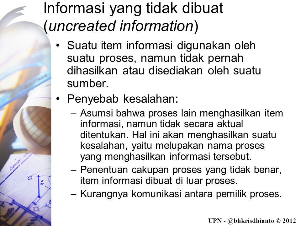 UPN - @bhkrisdhianto © 2012 Informasi yang tidak dibuat (uncreated information) •Suatu item informasi digunakan oleh suatu proses, namun tidak pernah dihasilkan atau disediakan oleh suatu sumber.
