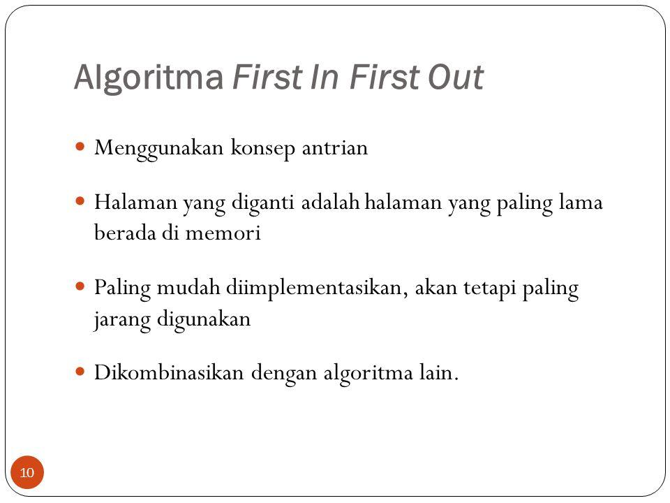 Algoritma First In First Out 10  Menggunakan konsep antrian  Halaman yang diganti adalah halaman yang paling lama berada di memori  Paling mudah di