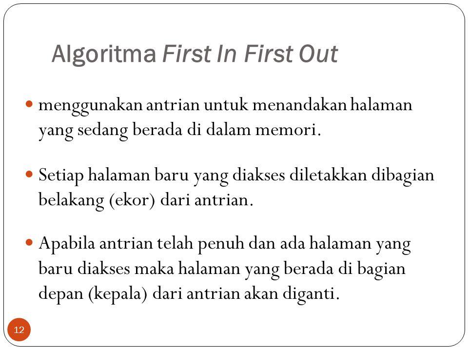 Algoritma First In First Out 12  menggunakan antrian untuk menandakan halaman yang sedang berada di dalam memori.  Setiap halaman baru yang diakses