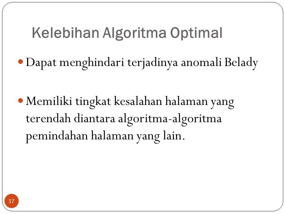 Kelebihan Algoritma Optimal 17  Dapat menghindari terjadinya anomali Belady  Memiliki tingkat kesalahan halaman yang terendah diantara algoritma-alg