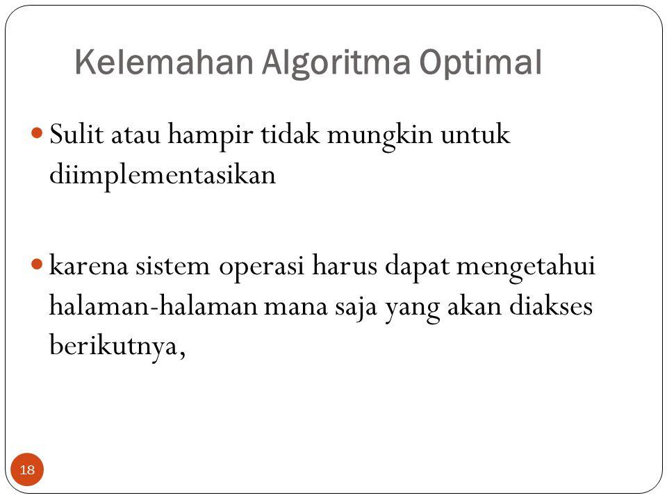 Kelemahan Algoritma Optimal 18  Sulit atau hampir tidak mungkin untuk diimplementasikan  karena sistem operasi harus dapat mengetahui halaman-halama