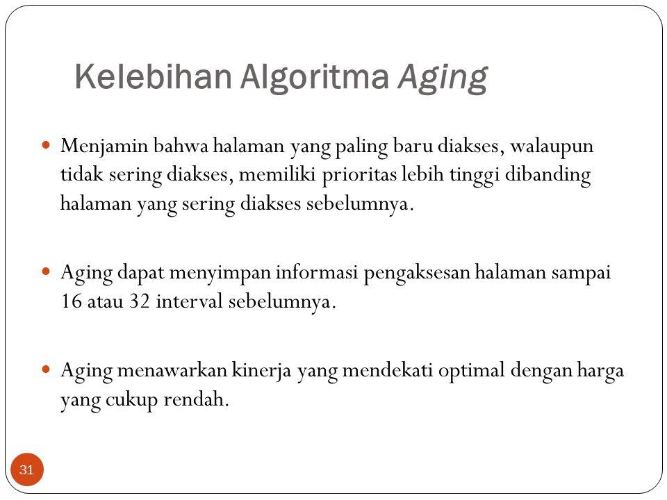 Kelebihan Algoritma Aging 31  Menjamin bahwa halaman yang paling baru diakses, walaupun tidak sering diakses, memiliki prioritas lebih tinggi dibandi