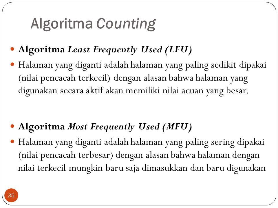 Algoritma Counting 35  Algoritma Least Frequently Used (LFU)  Halaman yang diganti adalah halaman yang paling sedikit dipakai (nilai pencacah terkec