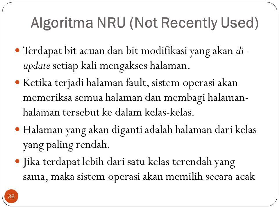 Algoritma NRU (Not Recently Used) 36  Terdapat bit acuan dan bit modifikasi yang akan di- update setiap kali mengakses halaman.  Ketika terjadi hala