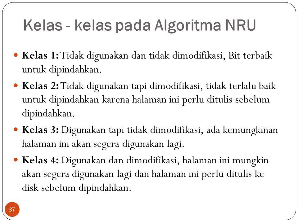 Kelas - kelas pada Algoritma NRU 37  Kelas 1: Tidak digunakan dan tidak dimodifikasi, Bit terbaik untuk dipindahkan.  Kelas 2: Tidak digunakan tapi