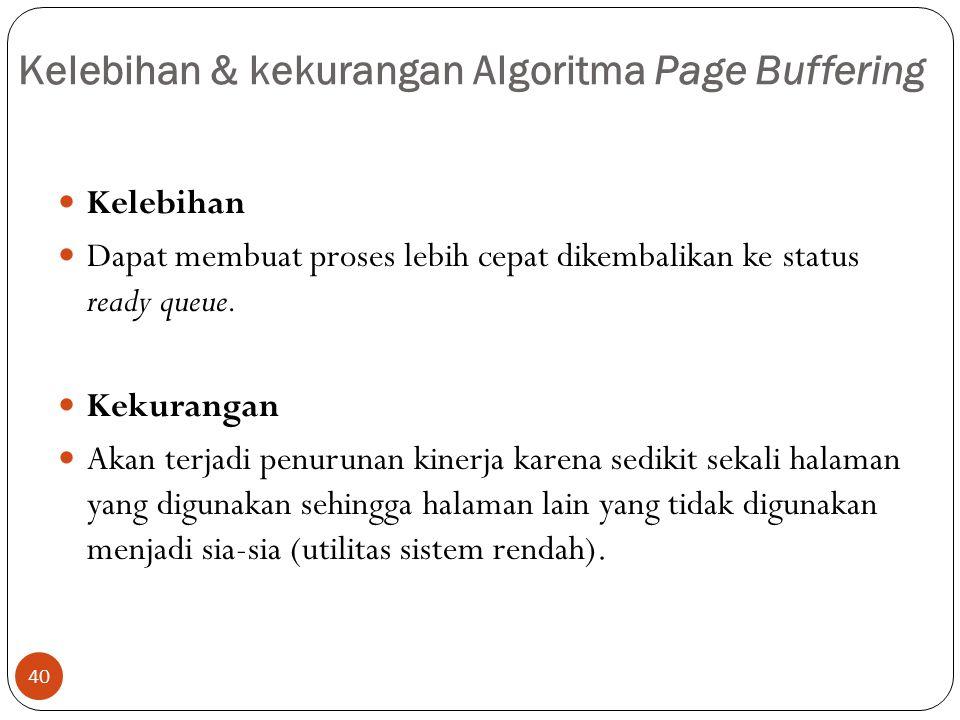 Kelebihan & kekurangan Algoritma Page Buffering 40  Kelebihan  Dapat membuat proses lebih cepat dikembalikan ke status ready queue.  Kekurangan  A