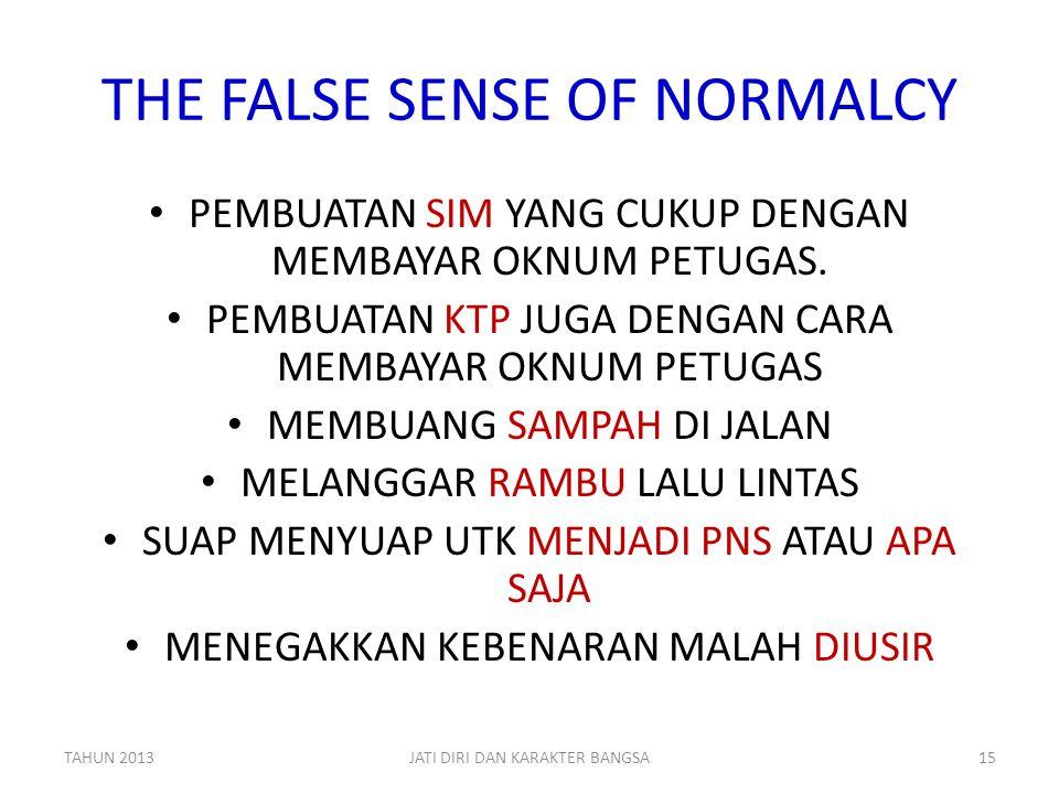 THE FALSE SENSE OF NORMALCY • PEMBUATAN SIM YANG CUKUP DENGAN MEMBAYAR OKNUM PETUGAS. • PEMBUATAN KTP JUGA DENGAN CARA MEMBAYAR OKNUM PETUGAS • MEMBUA