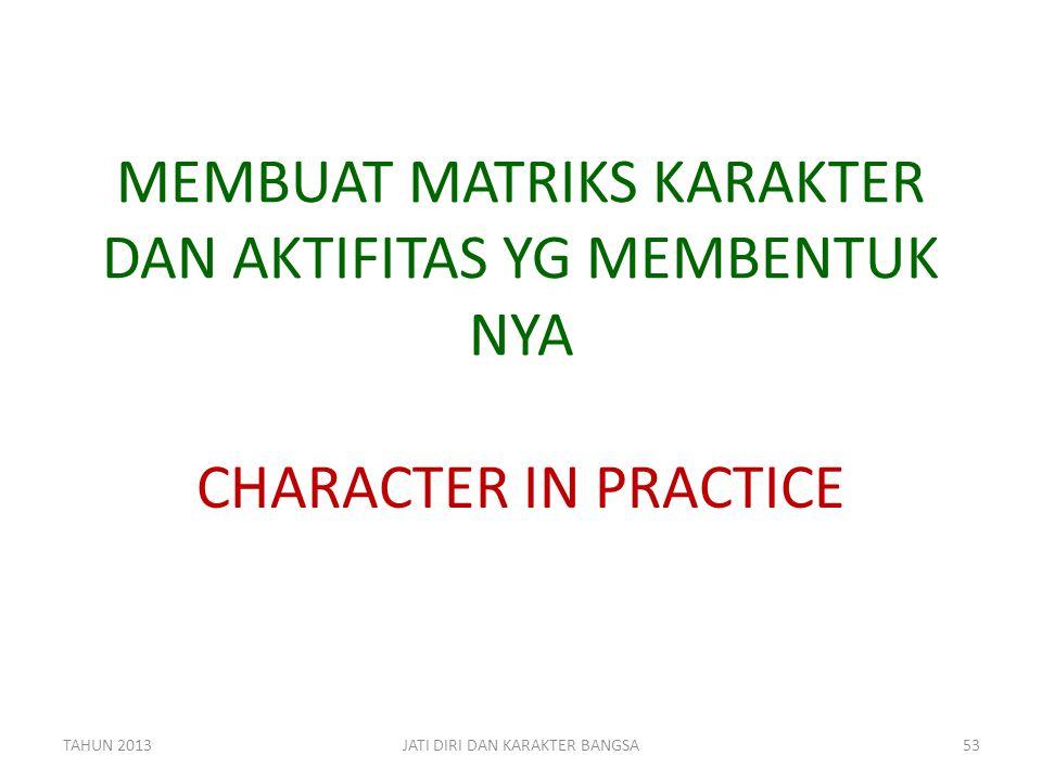 MEMBUAT MATRIKS KARAKTER DAN AKTIFITAS YG MEMBENTUK NYA CHARACTER IN PRACTICE TAHUN 2013JATI DIRI DAN KARAKTER BANGSA53