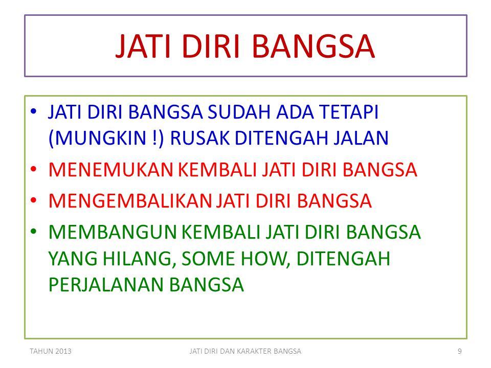 KITA HARUS BERUBAH BANGSA INDONESIA HARUS BERUBAH TAHUN 2013JATI DIRI DAN KARAKTER BANGSA30 MENJADI BERKARAKTER MEMBANGUN JATI DIRINYA MENJADI BERKARAKTER MEMBANGUN JATI DIRINYA !