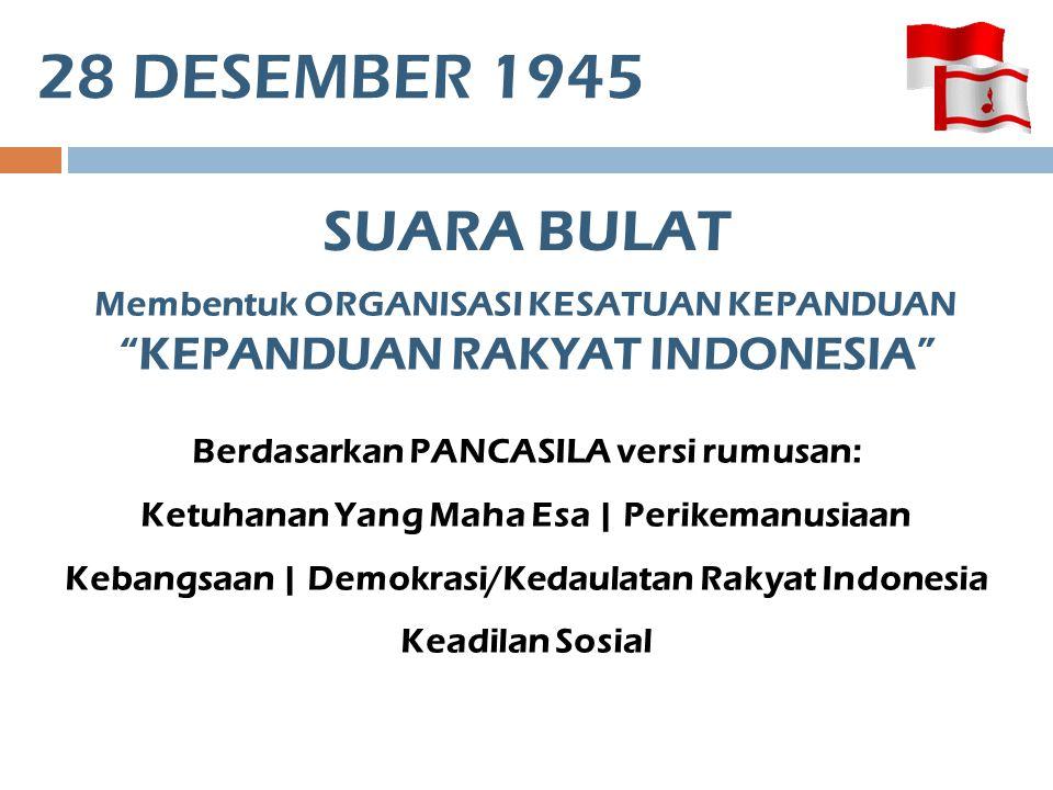 """28 DESEMBER 1945 SUARA BULAT Membentuk ORGANISASI KESATUAN KEPANDUAN """"KEPANDUAN RAKYAT INDONESIA"""" Berdasarkan PANCASILA versi rumusan: Ketuhanan Yang"""