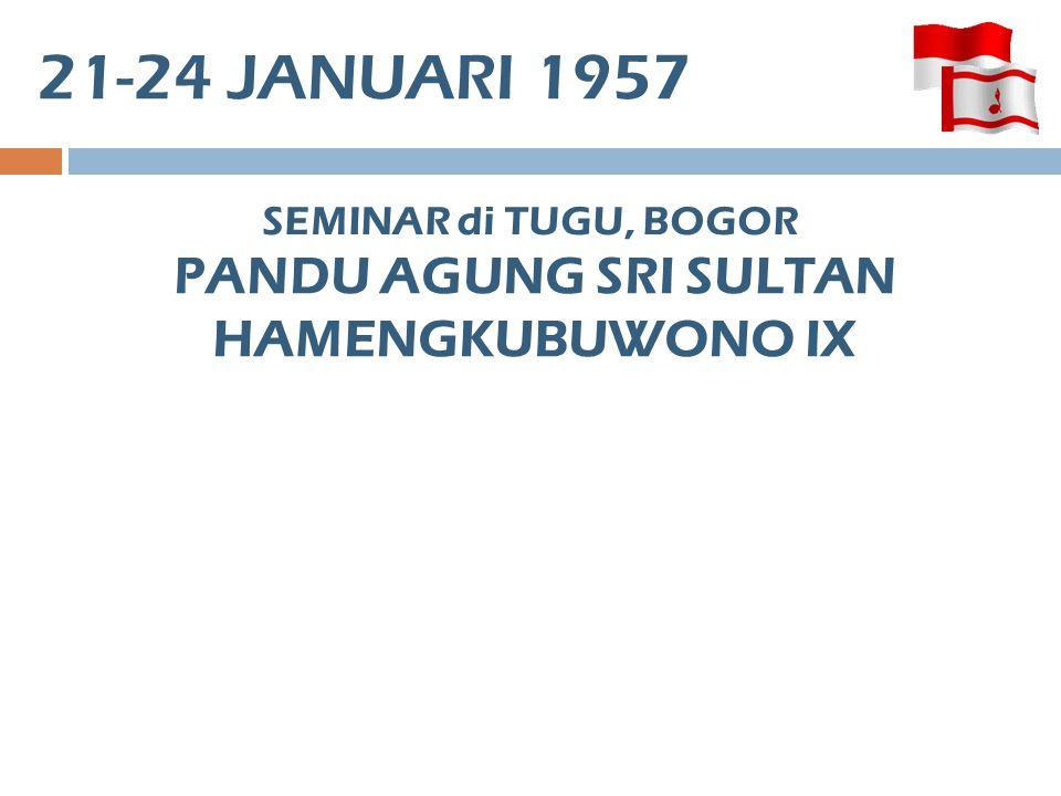 21-24 JANUARI 1957 SEMINAR di TUGU, BOGOR PANDU AGUNG SRI SULTAN HAMENGKUBUWONO IX