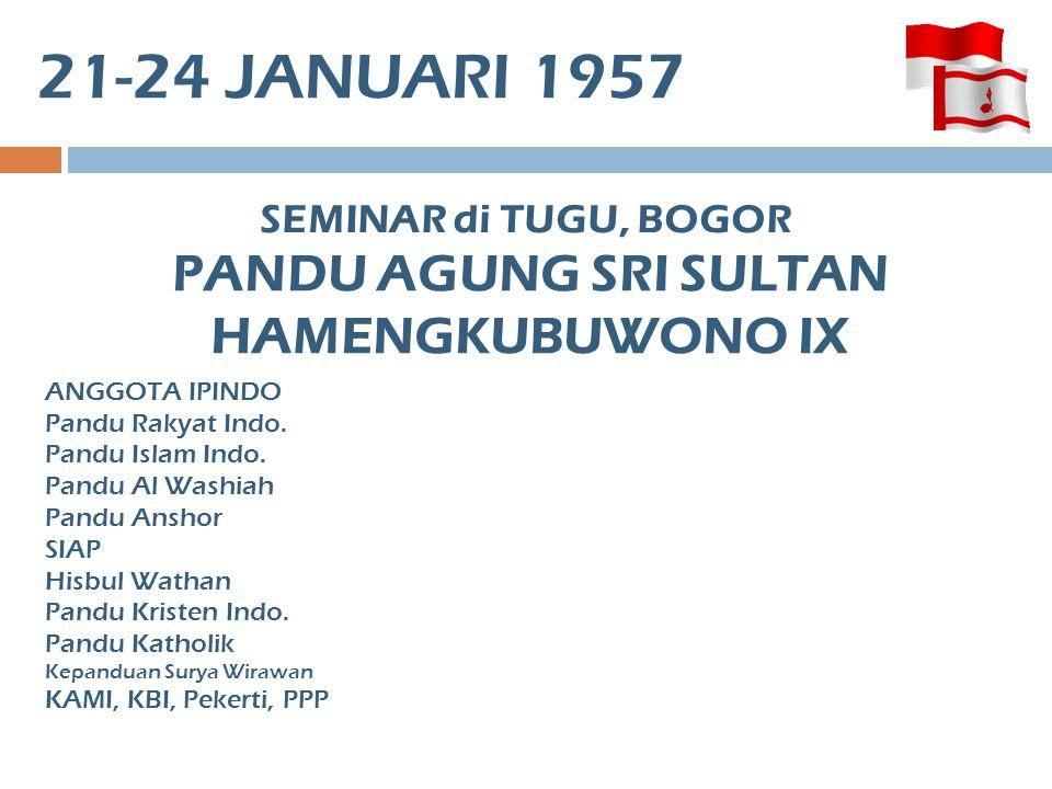 21-24 JANUARI 1957 SEMINAR di TUGU, BOGOR ANGGOTA IPINDO Pandu Rakyat Indo.