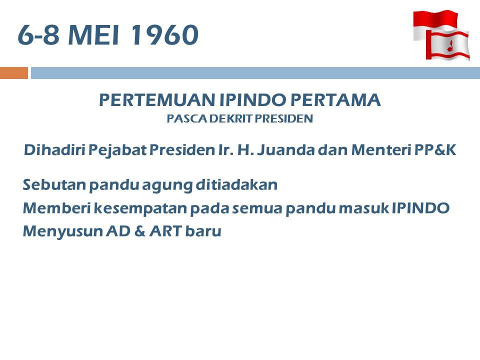 6-8 MEI 1960 PERTEMUAN IPINDO PERTAMA PASCA DEKRIT PRESIDEN Dihadiri Pejabat Presiden Ir.