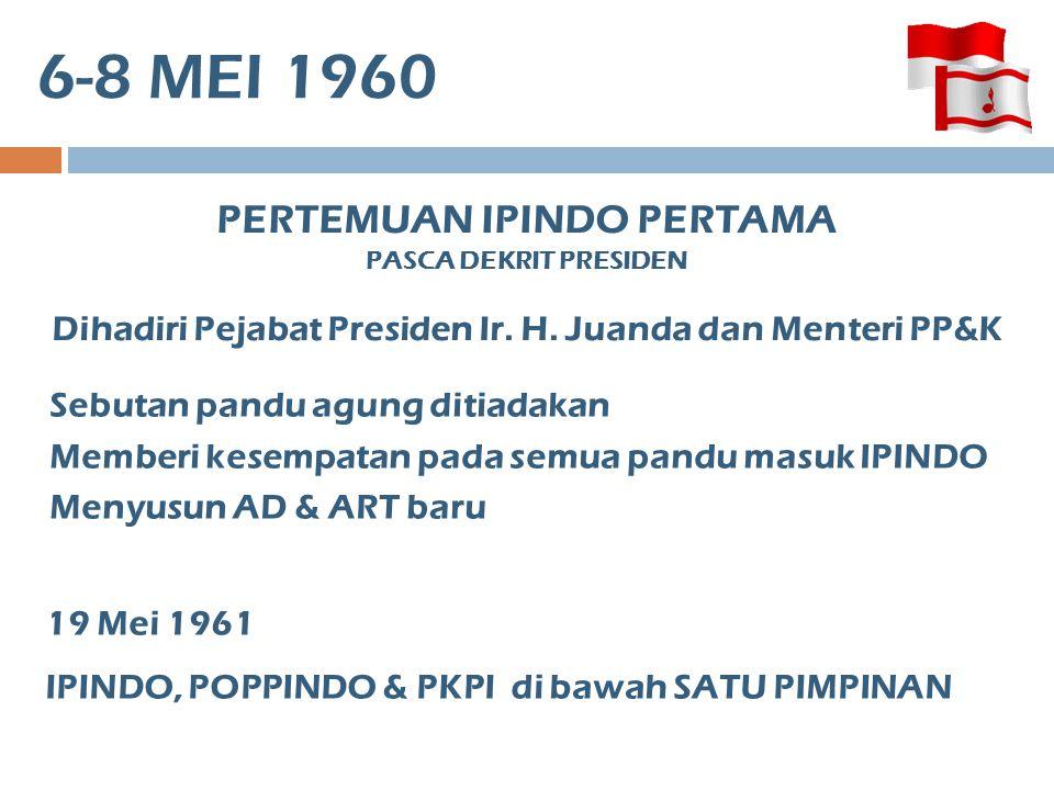 26-88 MEI 1960 PERTEMUAN IPINDO KETIGA IPINDO DINYATAKAN DEMISIONER, PARA PETUGASNYA MENYERAHKAN KPD PANDU-PANDU IPINDO, POPPINDO, PKPI lebur menjadi federasi baru – PERKINDO (Persatuan Kepanduan Indonesia) Pimp.