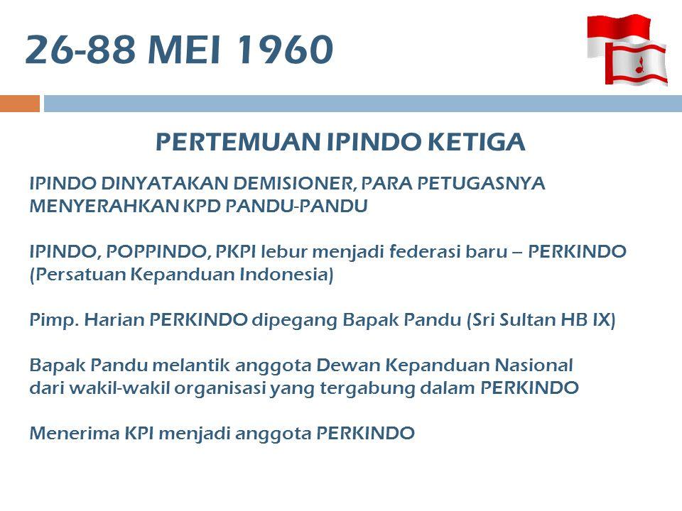 5 JULI1960 PERTEMUAN IPINDO KEEMPAT Bapak Pandu melantik DKN (Dewan Kepanduan Nasional) Kepanduan Bhayangkara diterima sbg anggota PERKINDO IPINDO, POPPINDO, PKPI ATAS KEPERCAYAAN PRESIDEN BERUSAHA MEMPERSATUAKAN SELURUH POTENSI KEPANDUAN YG ADA, WALAUPUN BELUM BERHASIL.