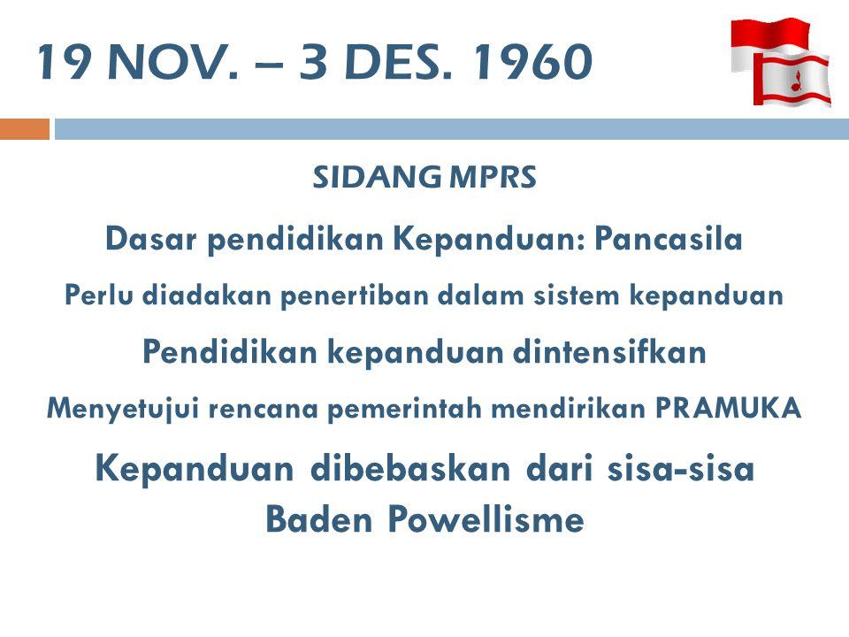 19 NOV. – 3 DES. 1960 SIDANG MPRS Dasar pendidikan Kepanduan: Pancasila Perlu diadakan penertiban dalam sistem kepanduan Pendidikan kepanduan dintensi