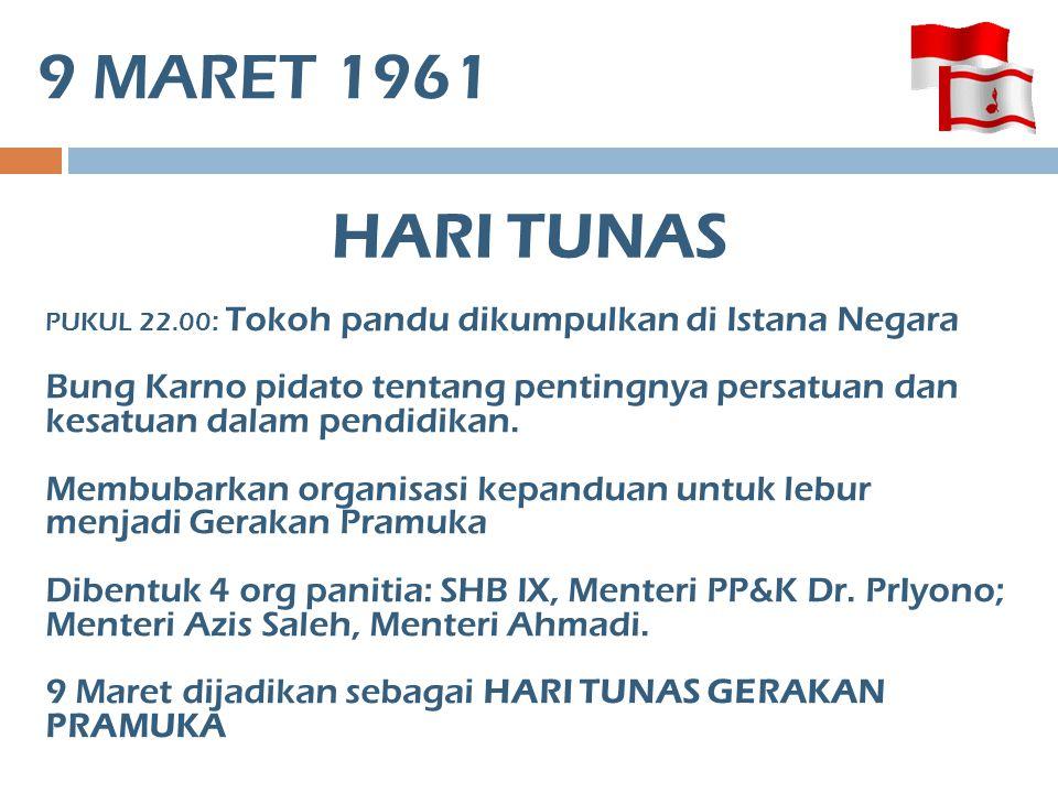 9 MARET 1961 PUKUL 22.00 : Tokoh pandu dikumpulkan di Istana Negara Bung Karno pidato tentang pentingnya persatuan dan kesatuan dalam pendidikan. Memb