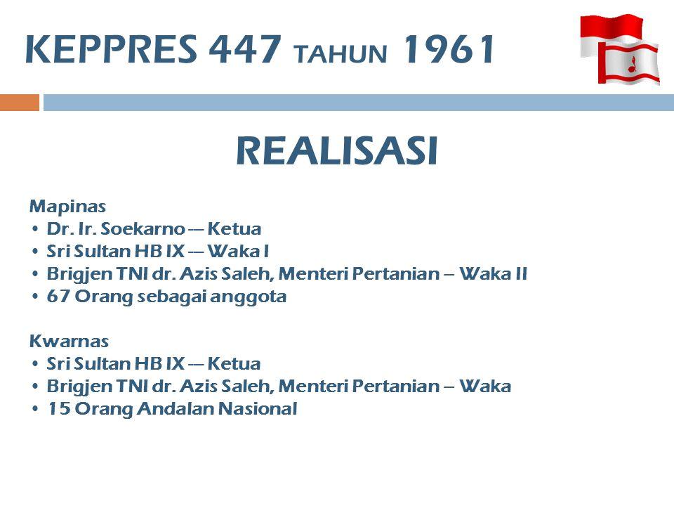 KEPPRES 447 TAHUN 1961 Mapinas • Dr. Ir. Soekarno --- Ketua • Sri Sultan HB IX --- Waka I • Brigjen TNI dr. Azis Saleh, Menteri Pertanian – Waka II •