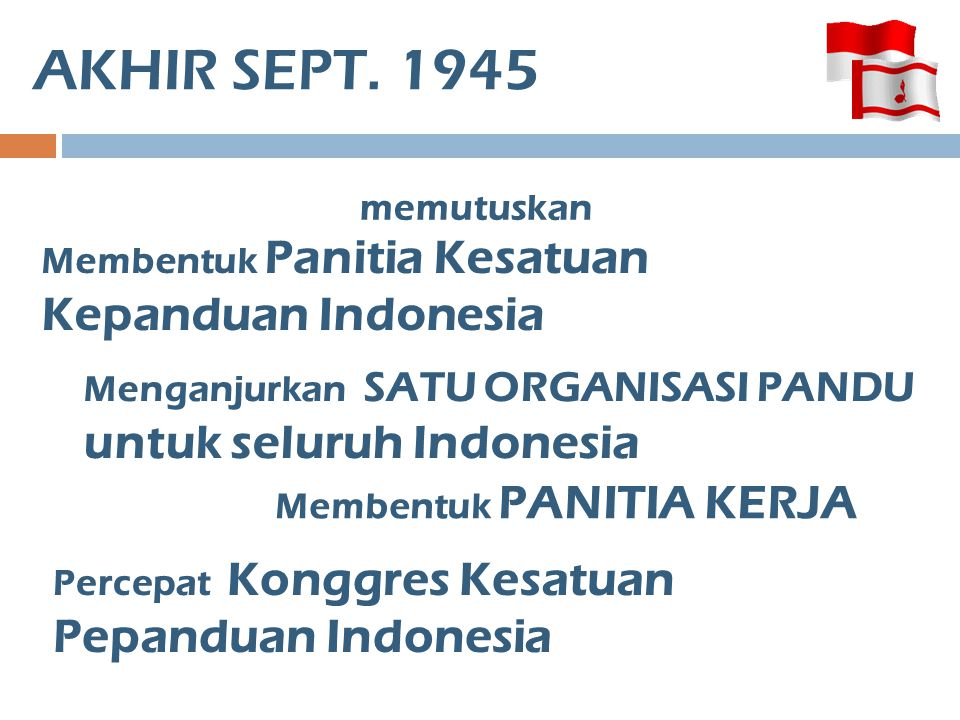 AKHIR SEPT. 1945 memutuskan Membentuk Panitia Kesatuan Kepanduan Indonesia Menganjurkan SATU ORGANISASI PANDU untuk seluruh Indonesia Membentuk PANITI