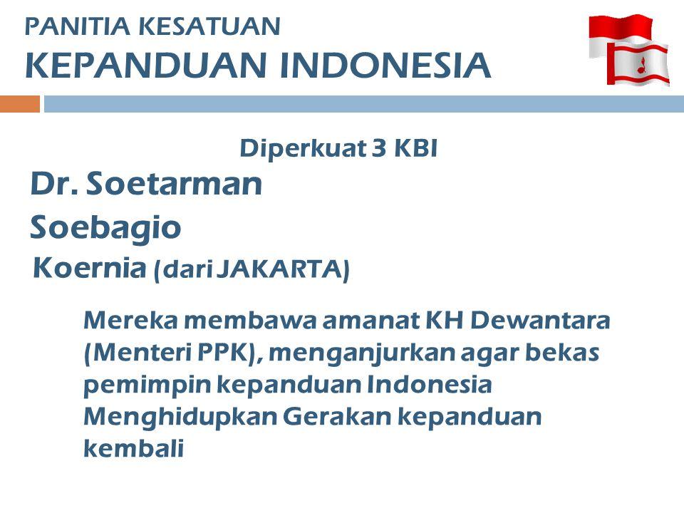 PANITIA KESATUAN KEPANDUAN INDONESIA Diperkuat 3 KBI Dr. Soetarman Soebagio Koernia (dari JAKARTA) Mereka membawa amanat KH Dewantara (Menteri PPK), m
