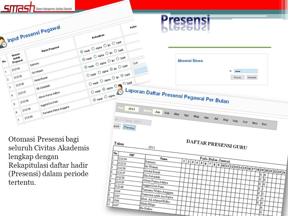 Otomasi Presensi bagi seluruh Civitas Akademis lengkap dengan Rekapitulasi daftar hadir (Presensi) dalam periode tertentu.
