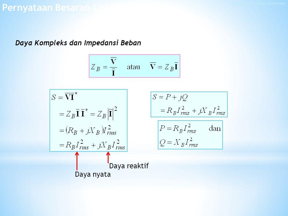 Daya Kompleks dan Impedansi Beban Pernyataan Besaran Listrik Daya reaktif Daya nyata