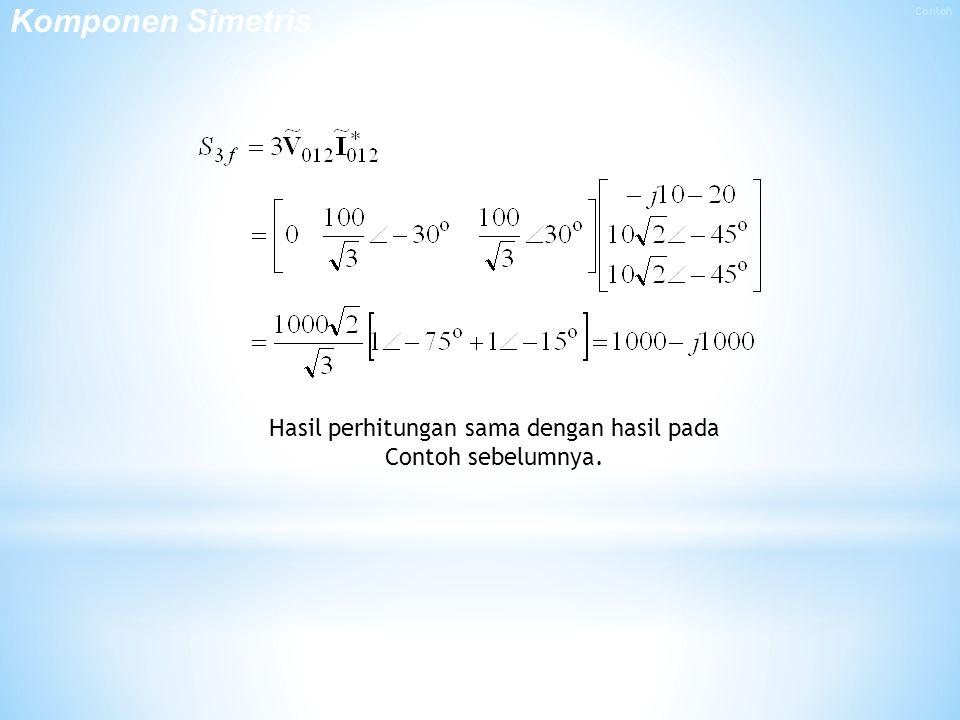 Hasil perhitungan sama dengan hasil pada Contoh sebelumnya. Komponen Simetris